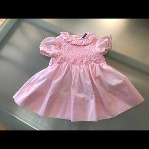 Vintage pink smocked Polly Flinders size 12 months
